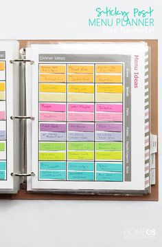 Home Management Binder - Home Made By Carmona Sticky Post Menu Planner - free printables Diy Custom Closet, Reminder Board, Home Management Binder, Time Management, Household Binder, Menu Planners, Planner Organization, Office Organization, What To Make
