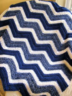 chevron zig zag baby blanket afghan wrap crochet knit lap wheelchair ripple stripes VANNA WHITE yarn denim colonial blue made in the USA