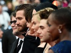 Feature Film jury members actor Jake Gyllenhaal (2nd-L) and director Guillermo del Toro (L) pose with fellow members as they arrive for the closing ceremony of the 68th Cannes Film Festival in Cannes, southeastern France, on May 24, 2015.   Loic Venance, AFP/Getty Images