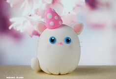 White Cat Figurine with a Party Hat / Kawaii Miniature Kitty / Collectible Toys by Naboko Studio