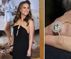 Natalie Portman got engaged to her Black Swan costar Benjamin Millepied in December 2010 when he proposed with a round diamond solitaire surrounded by a circle of pavé diamonds.