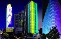 Digital building facades, left, Jakarta, Indonesia; center, Mexico City; right, Seoul, Korea