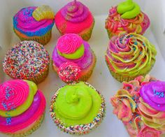 Neon frosting!  FUN FOR A KIDS PARTY!!!