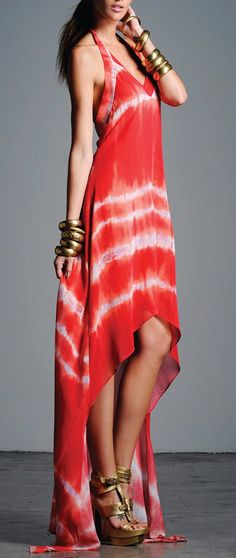 Would be nice with a belt... Coral tie dye maxi