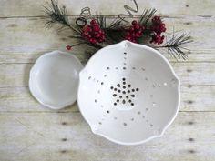 Ceramic Berry Bowl Strainer Colander White by MyMothersGarden, $36.00