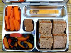Almond butter sandwich squares, nectarine & blueberries, baby carrots, cheese stick, and a couple little cookies