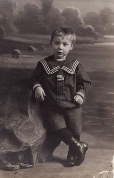 Portrait of a Russian child in a sailor costume, 1910's.