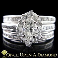 White Gold 1.80ctw Marquise Diamond Engagement Ring Wedding Band Anniversary Set