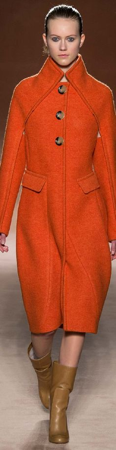 Fall 2015 Ready-to-Wear Victoria Beckham - I wish she had put full sleeves on the coat - nothing under the arms strikes me as odd. Victoria Beckham, Retro Mode, Orange Fashion, Winter Coat, Fall Winter, Jacket Style, Passion For Fashion, Coats For Women, Dress To Impress
