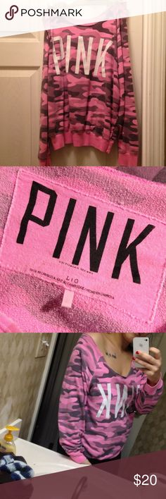 Victoria's secret off the shoulder sweat shirt Vickie's pink camo off the shoulder sweatshirt. PINK Victoria's Secret Tops Tees - Long Sleeve