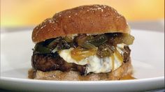 Ingrid Hoffman's Latin Burgers with Caramelized Onion and Jalapeno Relish