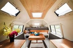 Called the Coati Camper, the all-fiberglass, dismountable truck camper has an angular exterior and luxurious appointments inside. Truck Shells, Truck Camper Shells, Interior Photo, Interior Design, Toyota Camper, Fiberglass Camper, Pickup Camper, Camper Van, Small Pickups