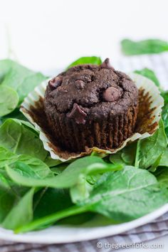 Secret SPINACH Double Chocolate Muffins- uses an entire bag of spinach and you can't taste it! #vegan