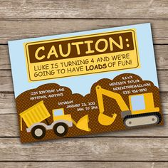 Party Invitation  Tonka Trucks Collection by PixelSeeds on Etsy, $12.50