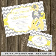 Baby Shower Invitation FREE Thank You Card Instant Download Birthday Invitation Chevron Light Yellow Gray Elephants DIY Editable