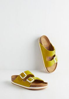 Strappy Camper Sandal in Chartreuse. Set up your tent, kick off those hiking boots, and step into these Birkenstock Arizona sandals! #yellow #modcloth