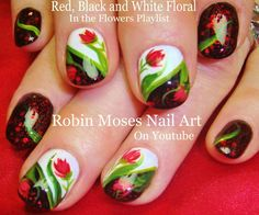 Red Flowers on Black and white Nails!!! #elegant #nailart #nails #nail #art #howto #nailart #fall #diy #design #tutorial #simple #easy #red #blackandwhite #flowernails #prettynails #fallnails #fall2015 #rednails #autumn #diy