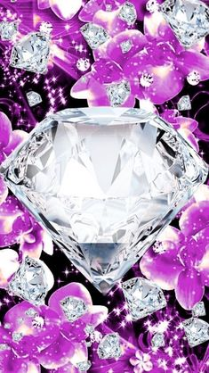 Diamond Wallpaper, Bling Wallpaper, Iphone Wallpaper Glitter, Heart Wallpaper, Cellphone Wallpaper, Purple Backgrounds, Flower Backgrounds, Wallpaper Backgrounds, Heart Background