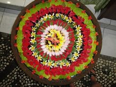 flowers arranged in bowl of water- traditional decoration for auspiciousness - loved & pinned by www.omved.com Diwali Rangoli, Festival Lights, Pure Products, Traditional, Decoration, Water, Flowers, Decor, Gripe Water