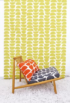 Dining Room Wall Art - Option 3 - fabric for canvas.  Bowls by skinnylaminx on Etsy. Yellow print on linen. South African designed. Mid century / scandi style.
