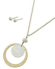Matte Gold Tone & Matte Silver Tone / Cream Fresh Water Pearl / Lead&nickel Compliant / Metal / Post (earrings) / Pendant / Long Neck & Earring Set