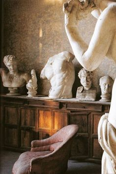 """cristopherworthland: """"The French Academy's collection of casts which artists, such as Ingres and Balthus, studied during their directorships at the Villa Medici. From The World of Interiors, February Photography by Denis Hollier. Sculpture Art, Sculptures, Image Deco, Ancient Greek Architecture, The Secret History, World Of Interiors, Art Design, Aesthetic Art, Art Inspo"""