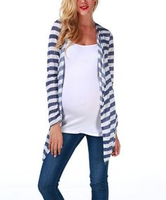 Take a look at this Navy Blue & White Stripe Maternity Open Cardigan by PinkBlush Maternity on #zulily today!
