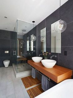Bathroom some ideas, bathroom renovation, bathroom decor and master bathroom organization! Bathrooms may be beautiful too! From claw-foot tubs to shiny fixtures, these are the master bathroom that inspire me probably the most. Modern Master Bathroom, Minimalist Bathroom, Contemporary Bathrooms, Modern Bathroom Design, Bathroom Interior Design, Bathroom Styling, Simple Bathroom, Interior Ideas, Modern Design