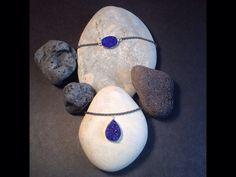 Conjunto de collar y pulsera de plata envejecida con drusas azul eléctrico   onejewelbcn@gmail.com