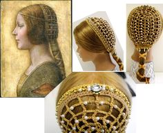 Renaissance Jeweled & Beaded, Gold and Biege,Italian Trinzale Coazzone, reenactment, Renaissance faire ,Costume, headdress, Medieval,SCA by ZzDesign on Etsy
