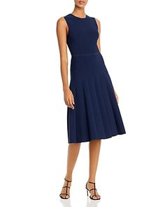Narciso Rodriguez Pleated Knit Midi Dress In Navy Cardigans For Women, Midi Dresses Online, Dress Online, Navy Midi Dress, Narciso Rodriguez, Knit Cardigan, World Of Fashion, Dresses For Work, Gowns