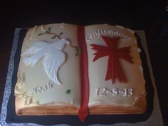 Confirmation Cake - * Catholic Confirmation, Confirmation Cakes, Christian Cakes, Religious Cakes, First Communion Cakes, Book Cakes, Cake Toppings, Occasion Cakes, Girl Cakes