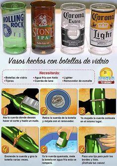 Originales vasos hechos con botellas de vidrio.  #Hazlotumismo #Botellasdevidrio #reciclaje
