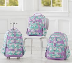Mackenzie Aqua Dotty Foil Heart Backpack | Pottery Barn Kids