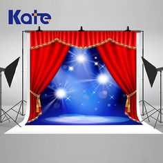 Red Curtain Theater Stage Photography Backdrops Blue Light
