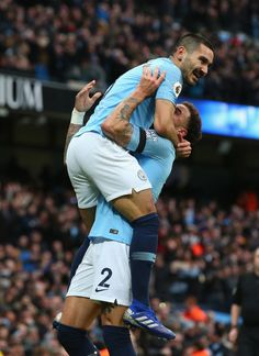 MANCHESTER, ENGLAND - FEBRUARY 10:  Ilkay Gundogan of Manchester City celebrates with Kyle Walker after scoring the fourth goal during the Premier League match between Manchester City and Chelsea FC at Etihad Stadium on February 10, 2019 in Manchester, United Kingdom.  (Photo by Alex Livesey - Danehouse/Getty Images) Manchester England, Manchester City, Manchester United, Zen, Kyle Walker, February 10, Premier League Matches, Men In Uniform, Chelsea Fc