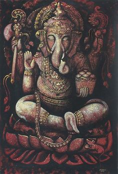 Religious and Spiritual Expressionist Painting - Blessed Ganesha II | NOVICA