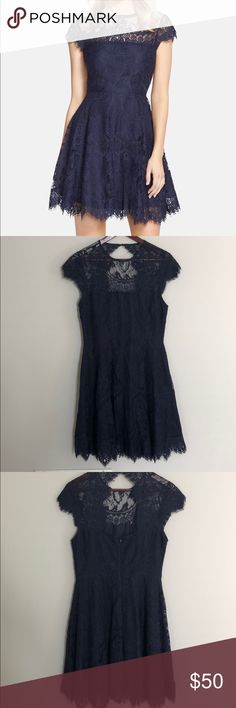 ea6903738be BB Dakota Rhianna Lace Fit   Flare Dress Worn once for a wedding. Dry  cleaned. Perfect Condition. Purchased at Nordstrom for  98. Color is navy  blue.