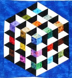"Stolen quilts (Texas) alert: Karen Combs' beautiful ""Patchwork Illusions Rainbow Cube"" and others See her post for details. 3d Quilts, Big Block Quilts, Barn Quilts, Geometric Quilt, Hexagon Quilt, Tumbling Blocks Quilt, Quilt Blocks, Quilting Projects, Quilting Designs"
