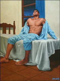 Canadian artist Steve Walker Artistry of Male Soul Food: Paintings Jeff Buckley, Fox Terriers, Robert Doisneau, Gay Couple, Art Gay, Moving To Toronto, A Kind Of Magic, Walker Art, Tough Guy
