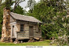 Ritter-McDonald log cabin from the 1850s, Shiloh Museum of Ozark History, Springdale, Arkansas - Stock Image