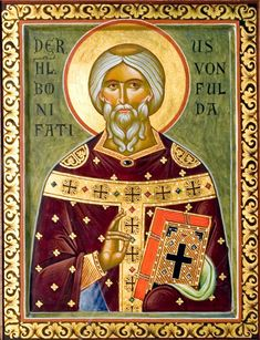 Boniface, Archbishop of Mainz (Feast Day - June Our father among the saints Boniface (c. 672 - June 754 or the Apostle o. Byzantine Icons, Byzantine Art, Catholic Saints, Patron Saints, Carolingian, Russian Icons, Biblical Art, Best Icons, Orthodox Icons