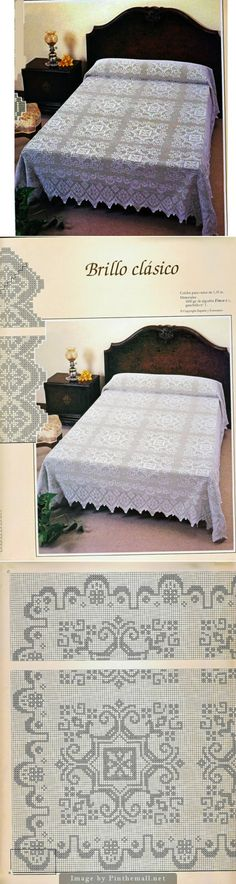 Filet crochet bedspread ~~ Square design but apparently worked in one piece ~~ Edging detail ~~