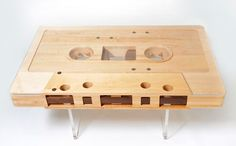 Jeff Skierka created this coffee table that pays homage to a technology of the past: the cassette tape. I'm particularly fond of it because it reminds me of my youth…