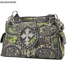 *+NEW+CAMOUFLAGE+PRINT+SOFT+LEATHERETTE+MATERIAL  *+TWO+COMPARTMENTS+MAGNETIC+CLOSURE  *+DOUBLE+SHOULDER+CHAIN+AND+LEATHERETTE+STRAP  *+TWO+SIDE+POCKETS  *+FRONT+DECORATED+WITH+NEW+RHINESTONE+STUDDED+ORNAMENT  Specification  MEASUREMENTS+13+(L)+X+8+(H)+x+5+(w)