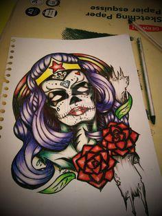 Wonder Woman Sugar Skull Tattoo