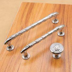 Kitchen Cabinet Door Handle Knob Pull Bright Silver Modern Dresser Pulls  Handlesu2026