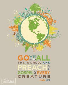 Wall Art (green, orange, tan, blue with earth embellishment)  Mark 16:15 - 8 x 10 Print