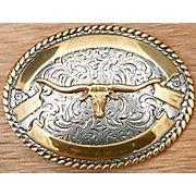 Gold on Silver Longhorn -- Western Buckles