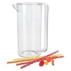 Clear Pitchers with Straws